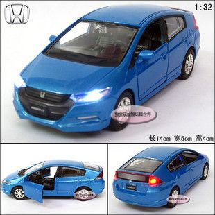 New 1 32 Honda Insight Alloy Diecast Model Car with Sound Light Blue