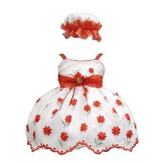 Elegant Baby Girl White Dress with Red Embroidery