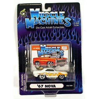 White with Flames 67 Nova 164 Scale Die Cast Car Toys & Games