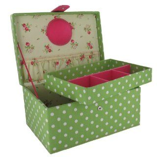 Green and White Polka Dot Sewing Box (G14) Red Polka Dot