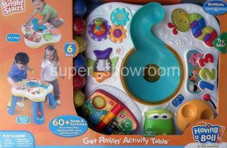 New Bright Starts Get Rollin Play Learn Kids Activity Table 123 ABCs