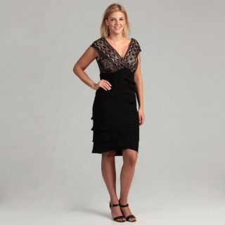 Jessica Howard Womens Black Tan Lace Plus Dress