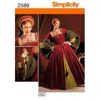 Simplicity 2589 Sewing Pattern Misses Tudor Costume Gown
