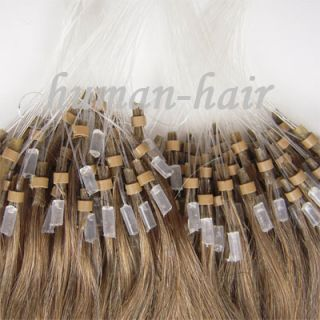 Loop Micro Rings Human Hair Extensions 100S Chestnut Brown 08