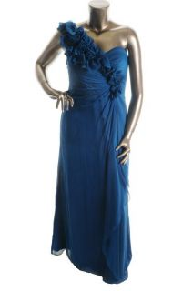 Adrianna Papell New Blue Ruched One Shoulder Sheath Formal Dress Gown