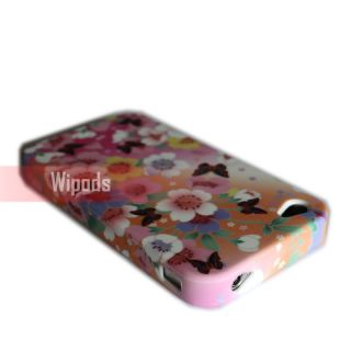 Colorful Flower Butterfly Soft Silicone Case Cover for Apple iPhone 4