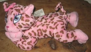 Idea Nuova Pink Spotted Plush Cheetah Cat Soft Stuffed Animal Laying