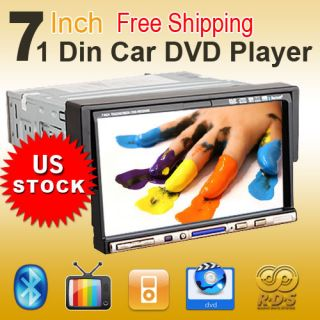 Excellent 1 DIN 7 in Dash LCD Car DVD Player Aux in Touch Screen iPod