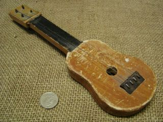 Vintage Miniature Guitar Antique Old Instrument String