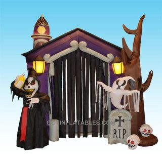 Halloween Inflatable Haunted House Castle Yard Outdoor Decoration