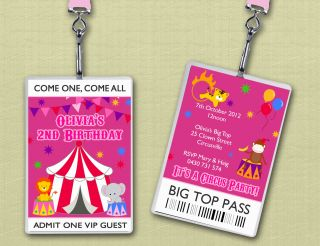 VIP Lanyard Circus Carnival Birthday Party Invitations