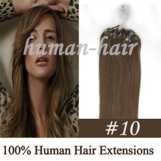 Indian Remy Loop Micro Rings Human Hair Extension 100S #10 Ash Brown
