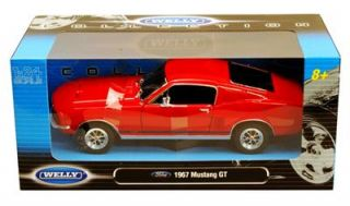 1967 Ford Mustang GT Hard Top 1 24 Diecast Car Red Welly