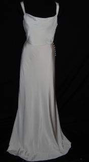 Crew Silk Tricotine Robin Long Gown Dress Size 2P Ivory