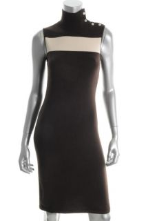 Ralph Lauren New Brown Silk Jersey Sleeveless Mock Neck Sweaterdress