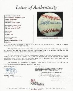 Ted Williams Signed Autograph Auto OAL Baseball JSA COA