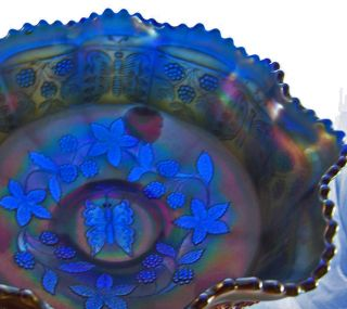 Fenton Dark Cobalt Blue Heavy Carnival Glass Bowl Butterfly n Berry