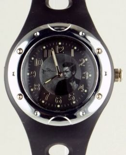James Dean Mens Japanese Quartz Stainless Steel Case Black Rubber