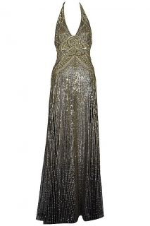 New Jenny Packham Gold and Black Beaded Sequin Dress Gown Kate