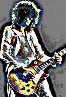 JIMMY PAGE Art Poster GUITAR GOD, Led Zeppelin Guitarist, Psychedelic