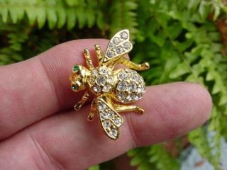Joan Rivers Crystal Rhinestones Bumble Bee Bug Pin Brooch Wasp