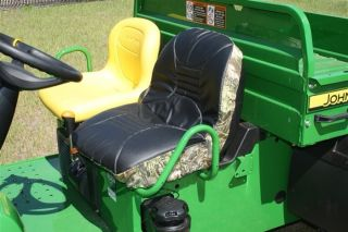 Premium Padded Seat Cover for John Deere Gator in Black & Camo (Set of