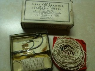U s 1940s Military WWII Fishing Survival Kit First Aid Dressing Army Carlisle