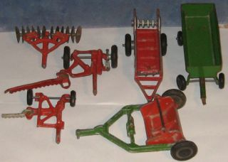 1950s John Deere Ford Toy Tractor Implement Lot 6pcs