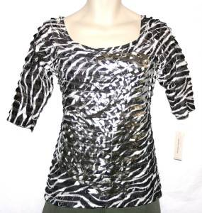 John Paul Black Print Ruffle Shirt Top Womens XL