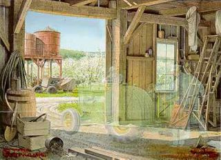 Charles Peterson Talk of Spring Old John Deere Tractor in Barn