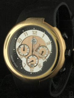 Philip Stein Active Gold Tone SS Men's Chronograph Watch w Box