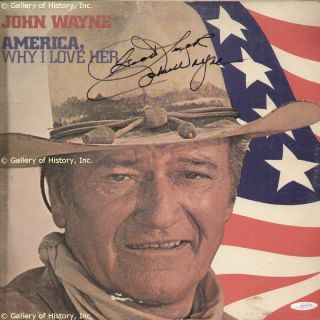 JOHN DUKE WAYNE RECORD ALBUM COVER SIGNED