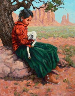 Original American Western Art Oil Painting Navajo Girl John t Jones