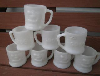 Set of 8 Vintage Fire King Johnny Hart Grog Comic Cartoon Milk Glass Mugs