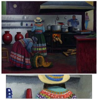 Josefa's Kitchen Original Oil Painting Peru Arts Medina