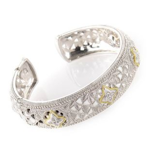 Judith Ripka Sterling Silver and 18K Yellow Gold Diamond Bangle
