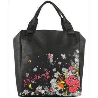 ED HARDY KAROLINA FLORAL GARDEN PARTY BLACK TOTE *FREE PRIOIRITY SHIP