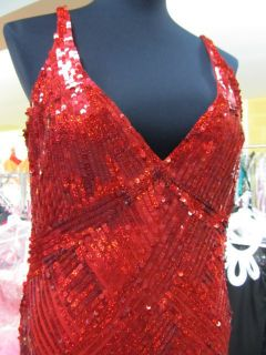 3270 Red Sequin Cassandra Stone Prom Dress Pageant Gown Plus Sz 14W $