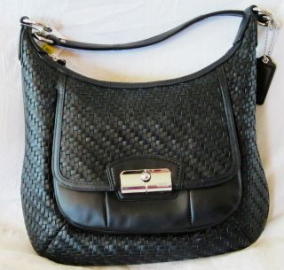 Coach 19314 Kristin Woven Leather Hobo Handbag Black $398