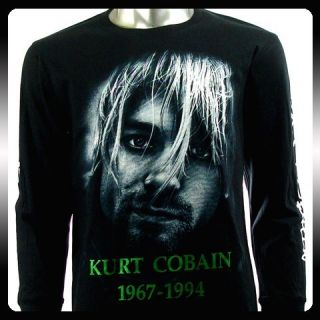 Nirvana Kurt Cobain Biker LS Long Sleeve T shirt Sz L Rider Rock Punk