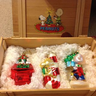 Snoopy Polonaise Christmas Ornaments In Box Kurt Alder 3 Ornaments Set