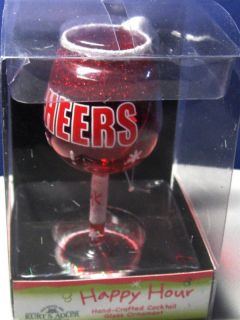 Kurt Adler Cheers Wine Glass Hand Blown Glass Christmas Holiday