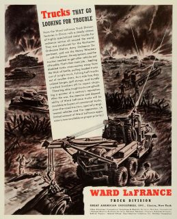 1944 Ad Ward LaFrance Truck WWII War Production Military Vehicles