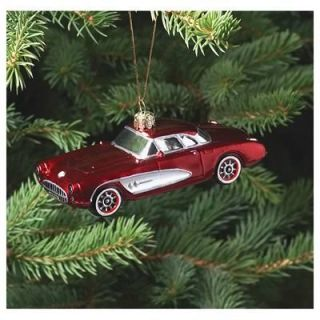 Kurt Adler Christmas Tree Ornament Blown Glass Corvette Each CR0100