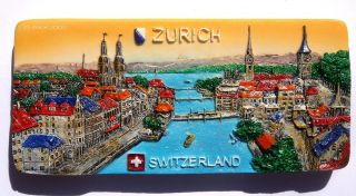 Zurich and The Lake Switzerland Souvenir Resin 3D Fridge Magnet
