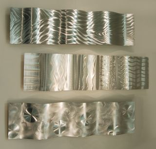 Large Modern Abstract Silver Metal Wall Art Decor Sculpture Forces of