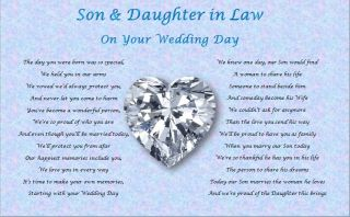 Son Daughter in Law Wedding Day Poem Gift