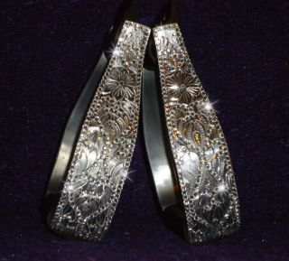 SADDLE RHINESTONE ALUMINUM BELL STIRRUPS BARREL RACING RODEO BLING