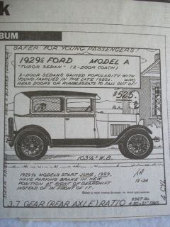 1929 1 2 Ford Model A Tudor Auto Album Paper Article