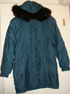 Leslie Fay Lady Warm Winter Jacket Fox Fur Hoodie M